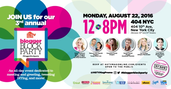 Attend the HGTV Magazine 3rd Annual Blogger Block Party